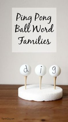 Use ping pong balls when teaching word families, letter ID, letter sounds, names, and more! Hands-on fun and lots of fine motor work!