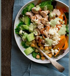chicken and chickpea green goddess power salad