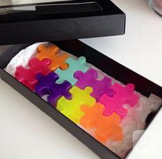 puzzle şeklinde renkli sabunlar