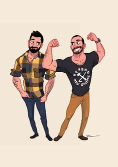Commissioned artworks for another cute couple, Andrew and Mike.
