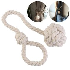 Cotton Rope Tie Band The tie band is a long loop with a knot ball at one end. With such whimsical curtain tie back, you can add some fun to your coastal decor. It would be ideal for a beach themed room, coastal cottage, or nautical themed bathroom! Beach Cottage Decor, Coastal Cottage, Coastal Style, Coastal Decor, Cotton Curtains, Drapes Curtains, Rustic Room, Rustic Decor, Romantic Room