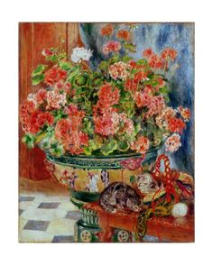 Geraniums and Cats, 1881 Giclee Print by Pierre-Auguste Renoir at Art.com