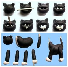 Kitty Cat Cakes for Cat Lovers - Cake Geek Magazine- Kitty Cat Cakes for Cat Lovers – Cake Geek Magazine Cat made of fondant / marzipan - Cat Fondant, Fondant Animals, Fondant Toppers, Fondant Cakes, Cupcake Cakes, Cat Cakes, Cupcake Toppers, Black Fondant, Clay Animals