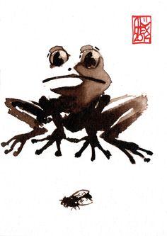 Grenouille / Frog : Aquarelle et brou de noix sur papier 250gr / Watercolor and walnut stain on paper 250gr 10.5 x 15 cm / 4.13x 5.9 in