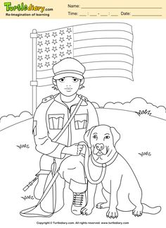 Soldier with Dog Coloring Sheet #memorialday #coloring #kids #artsandcrafts #turtlediary