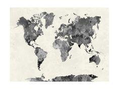 World Map in Watercolor Gray Art Print at AllPosters.com