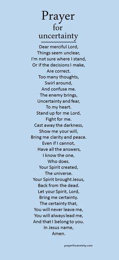 Prayer for uncertainty