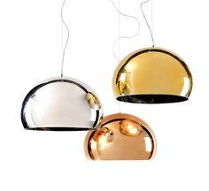 Kartell FL/Y Lampe à suspension Metallic Home Lighting, Lighting Design, Decoration Shabby, Lustre Design, Suspension Metal, Full Suspension, Soap Bubbles, Luminaire Design, Shades Of Gold