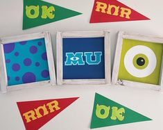 Disney Inspired Home Decor by JayAndKayCo on Etsy Disney Monsters, Monsters Inc, Painted Signs, Hand Painted, Mike Wazowski, Paint Matching, Monster University, Disney Home, Rustic Wood Signs