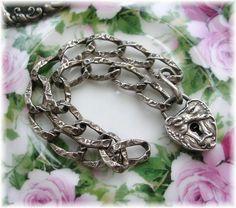 Antique Vintage Sterling Silver Heart Charm Bracelet North Wind Padlock Chase @ebay