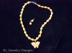 Carnelian Butterfly Necklace and Earring Set by KL Jewelry Design $25.00