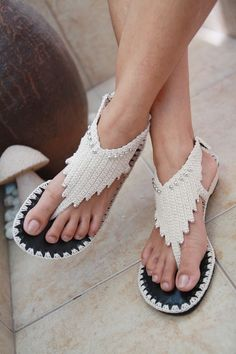 Unique Crochet Handmade Sandals.  Really like the design of these