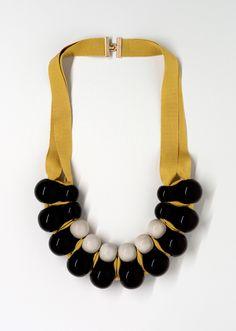 enameled black and grey ceramic pearls | marion vidal