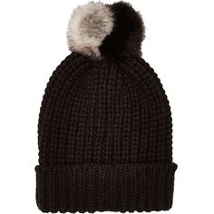 River Island Black knitted pom pom beanie hat ($19) ❤ liked on Polyvore featuring accessories, hats, black, women, beanie hats, black beanie hat, black pom beanie, black beanie cap and black hat