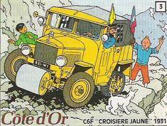 La croisiere Jaune de Tintin et du capitaine Haddock Autocollant Côte d'Or, par Herge