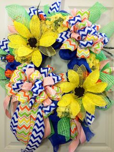 Summer Wreath Royal Blue Bright and colorful by WilliamsFloral, $115.00