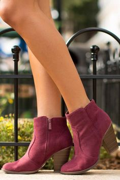 Play It Cool Burgundy Ankle Boots at reddressboutique.com