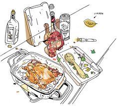 gq_garlicchicken6-2 Food Illustrations, Illustration Art, Happy Pills, Coloured Pencils, Food Drawing, Disney Art, Watercolour Painting, Cute Art, Gq