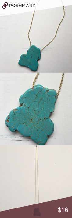 Long Chunky Turquoise Necklace LOVE this necklace. Great condition! Very nice and not too heavy. Chunky stone turquoise pendant. Pendant measures 2.5 x 2 inches. Entire length of necklace 20.5 inches. Jewelry Necklaces
