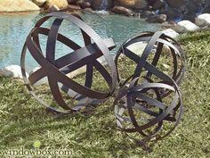 Brown Metal Garden Spheres, Set of 3 - 124.97