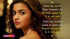 dear zindagi - Tu hi to nahi song quotes Hi Quotes, Best Lyrics Quotes, Photo Quotes, Movie Quotes, Bollywood Quotes, Bollywood Songs, Dear Zindagi Quotes, Marathi Love Quotes, Filmy Quotes