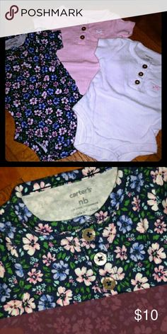 Carter's 3 piece onzie set , LIKE NEW Flowered never worn , White never worn, Pink worn one time Carter's One Pieces Bodysuits