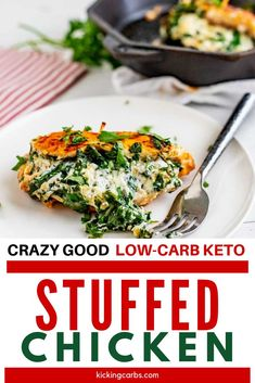 Anytime I can satisfy my cravings for comfort food in a way that doesn't involve a lot of carbs I am ecstatic. Spinach Stuffed Chicken is one of my go-to dinners. I prepare the filling as part of my weekly meal prep, which makes this keto dish an easy weeknight meal. #kickingcarbs #lowcarbrecipe #ketodinner #keto #stuffedchicken