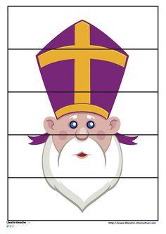 Des puzzles de 4 - 5 - 6 et 9 pièces sur le thème de Saint-Nicolas (Saint-Nicolas, la mitre, la crosse, l'âne...) Ils pourront être plastifiés ou utilisés comme exercices.