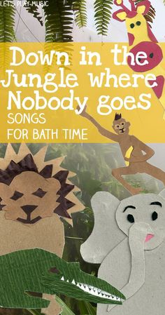 Down In The Jungle : Bath Time Song You're sure to monkey around in the tub with this fun beth time song! What other animals would you add to the party? (via Let's Play Music) Jungle Activities, Preschool Jungle, Preschool Music, Music Activities, Preschool Activities, Jungle Crafts, Zoo Crafts, Kindergarten Music, Nursery Activities