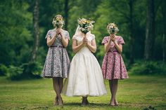 Quirky Campsite Outdoor Wedding Floral Liberty Print Bridsmaid Dresses http://www.lifelinephotography.co.uk/