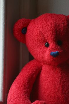 Handmade OOAK red British teddy bear. Made to order. £30.00, via Etsy.