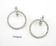 Rhinestone Earrings Hoop Clip on by Vintage55 on Etsy