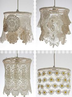 Dishfunctional Designs: Vintage Lace & Doilies: Upcycled and Repurposed, love these!!