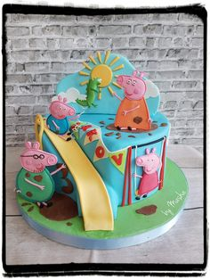 Peppa pig fun family day cake Baby Birthday Cakes, 3rd Birthday, Children Cake, Family Day, Peppa Pig, Parties, Disney, Fun, Ideas