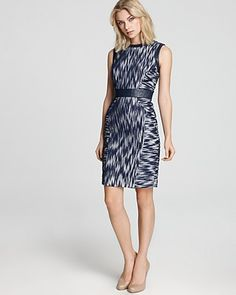 Milly Sheath Dress - Combo Ikat with Leather Trim | Bloomingdale's