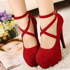 Suede Women's Stiletto Heel Heels Sandals Shoes(More Colors) – USD $ 26.69