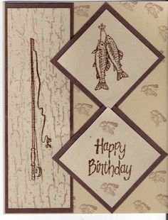 Fishing by Suzette Marie - Cards and Paper Crafts at Splitcoaststampers Bday Cards, Birthday Cards For Men, Male Birthday, Men's Cards, Masculine Birthday Cards, Masculine Cards, Card Making Supplies, Making Greeting Cards, Stamping Up Cards