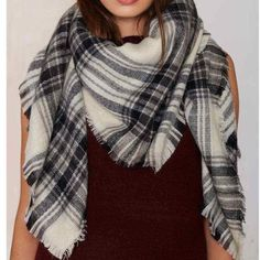 Blanket Scarf in Black and Cream! Scarf features a black and cream plaid print, frayed edges, and oversized silhouette. Looks great with a classic trench, skinnies, and sleek black booties. *Never Been Worn* Nasty Gal Accessories Scarves & Wraps