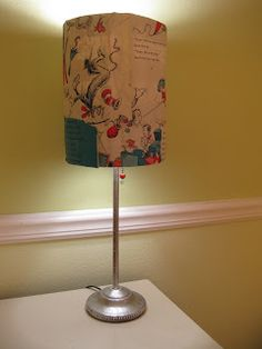 re-purpose it - old lamp made new with childrens book pagers glued onto the lamp shade for babies nursery