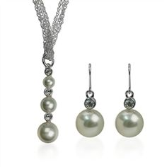 Pearl and Crystal Necklace and Earring Set available now for just $12.59 on #sale.