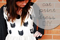 DIY cat print dress DIY Clothes DIY Refashion