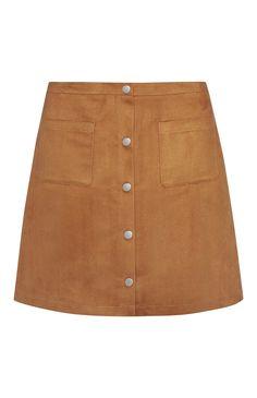 Primark - Suede Button Through Mini Skirt