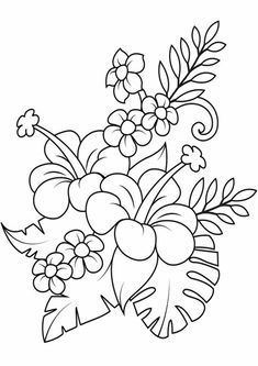 Leaf Coloring Page, Coloring Pages To Print, Free Printable Coloring Pages, Coloring Book Pages, Flower Coloring Sheets, Mandala Coloring, Embroidery Patterns Free, Hand Embroidery Designs, Flower Embroidery
