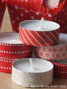 Velas pequeñas decoradas con washi tape                                                                                                                                                     Más