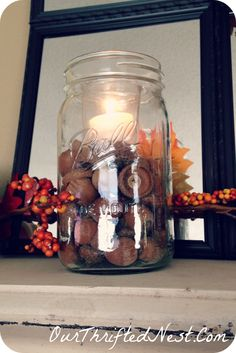 Happy Fall: Mason Jar Decor Filled With Acorns & A Candle Fall Mantel Decorations, Christmas Decorations, Christmas Ideas, Mason Jar Diy, Mason Jar Lamp, Jar Fillers, Fall Crafts, Holiday Crafts, Diy Bottle