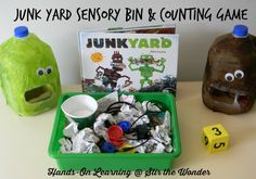 A fun way to incorporate numeral recognition, counting and a sensory bin!