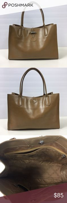 Nude/Tan Leather Longchamp Bamboo Clasp Handbag Classic longchamp styling. Classic shape and color. Bag shows wear on the leather (see photos) peeling on the sides, wear on the handles, front and back. Still beautiful but PLEASE do not purchase without first looking at the photo to see the wear details. No trades Longchamp Bags