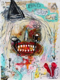 Abstract Portrait Painting Art Print. sad crying face tears