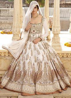 Artistic Off White Cotton Designer Anarkali Suit