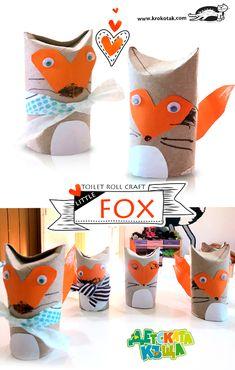 A toilet paper roll fox